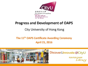 Presentation of Progress and Development of OAPS