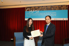 The OAPS Certificate Awarding Ceremony - Present Certificate to EF Student, CHONG Ting