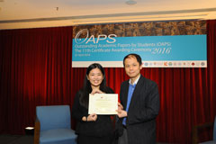 The OAPS Certificate Awarding Ceremony - Present Certificate to EF Student, LEE Ah Man