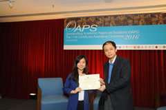 The OAPS Certificate Awarding Ceremony - Present Certificate to EF Student, LEE Hoi Ki