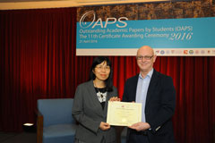 The OAPS Certificate Awarding Ceremony - Present Certificate to EN Student, FUNG Man Lai