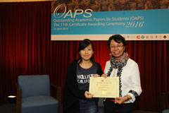 The OAPS Certificate Awarding Ceremony - Present Certificate to SS Student, CHAN Sin Tung