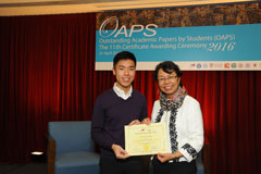 The OAPS Certificate Awarding Ceremony - Present Certificate to SS Student, LAU Shing Fung