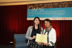The OAPS Certificate Awarding Ceremony - Present Certificate to SS Student, WONG Ka Po