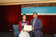 The OAPS Certificate Awarding Ceremony - Present Certificate to AP Student, LEUNG Wing Yee
