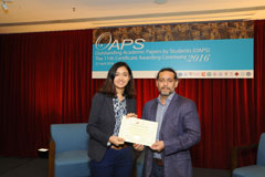 The OAPS Certificate Awarding Ceremony - Present Certificate to AP Student, XIALIZHATI Wumaier