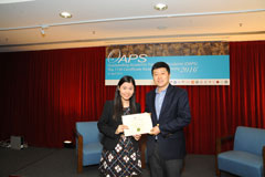 The OAPS Certificate Awarding Ceremony - Present Certificate to SLW Student, LEUNG Sze Lum